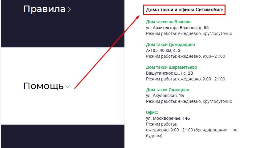 Дом такси Ситимобил - адреса в Москве